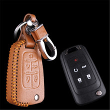 Car Genuine Leather Bag Remote Control Car Keychain Key Cover Case For Buick LaCrosse GL8 5Buttons Flip Key L640