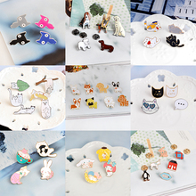 Miss Zoe 2 ~ 8 pcs/ensemble Chat Chien Hippopotame Chaton Chiot Totoro Broche bouton Broches Denim Veste Pin Badge Animal Bijoux Cadeau pour enfants