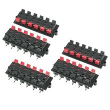 Good Plastic Casing 2 Pin 12 Position Speaker Terminal Board Red Black 5 Pcs(China)