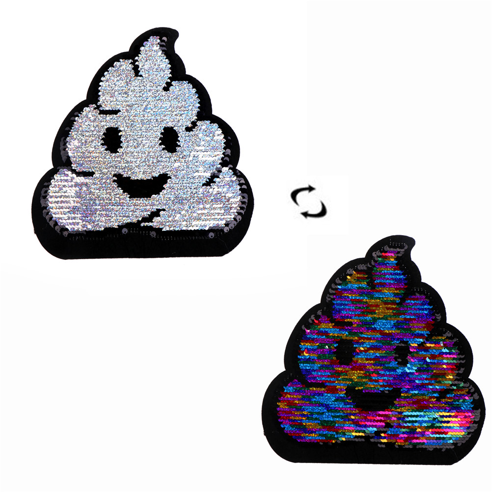 21cm x 20cm Emoji Patch Reversible Sequined Sew On Patches DIY For Coat Sweater Embroidered