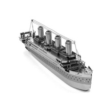 3D Metal Puzzles Model DIY Jigsaws Silver Ship Model Educational Toys for Kids Famous Shipwreck Titanic(China)