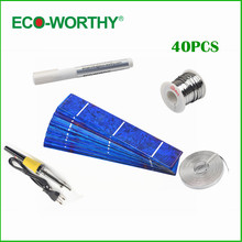 40pcs 1x6 Solar cell+tabbing wire+bus wire+flux pen+soldering iron gun solar cells kit for DIY 20W solar panel