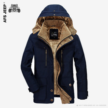 AFS JEEP Brand Winter Jacket Men Warm Thicken Coat High Quality Famous Cotton-Padded Fashion Parkas Elegant Business Plus Size