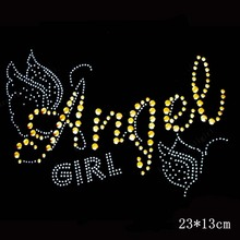 10PCS Angel Design Hotfix Rhinestone Heat Transfer Design Iron On Rhinestone Motif Embellishment For garment Shoes Sweater