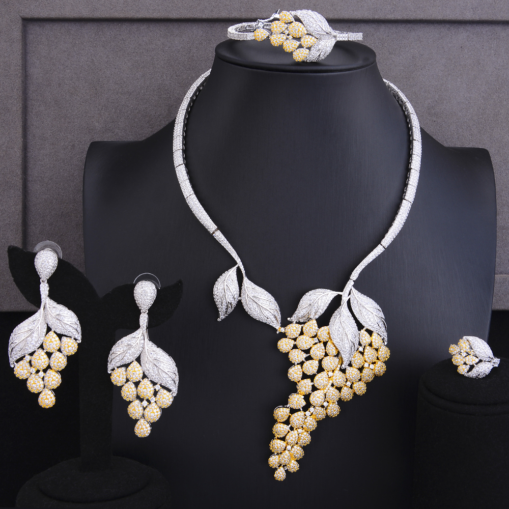 GODKI Luxury Grape Floral 4PCS DUBAI Jewelry Sets For Women Wedding Cubic Zircon Crystal CZ Indian African Bridal Jewelry Sets