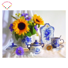 5D diy Diamond embroidery flower diamond cross stitch round diamond painting floral sunflower Blue and white porcelain coffee