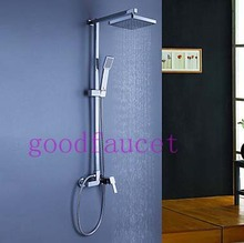 Modern Exposed Rain Shower Set Faucet w/ Handheld Shower Wall Mounted Mixer Tap