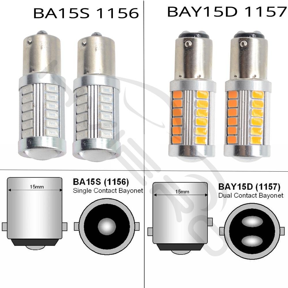 Hviero White Red 1156 BA15S 1157 BAY15D P21 5W 33SMD 5730 LED Car Brake Light Tail Lamps Turn Signal Auto Rear Reverse Bulbs DRL