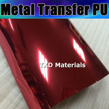 50X100CM/LOT RED Metal transfer pu, transfer metallic pu film for shirts ,heat transfer metal pu for cutting plotter machine