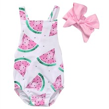 Newborn Baby Girl Romper Clothes Summer Sleeveless watermelon Backless Jumpsuit +Headband 2PCS Outfits Sunsuit(China)