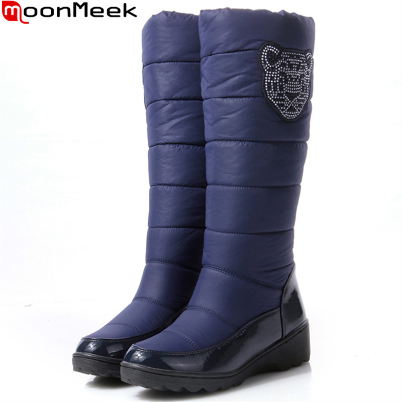 MoonMeek winter women boots round fahsion Down Keep warm Waterproof ladies snow boots crystal mid calf boots plus size 35-44<br>