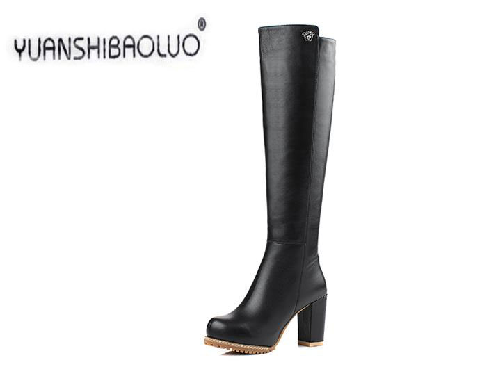 Genuine leather long boots 2014 high-leg boots first layer of cowhide fashion high-heeled platform boots<br><br>Aliexpress