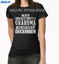 Gildan Only4U T Shirt Supplier Never Underestimate A Grandma Who Was Born In December Crew Neck Novelty Short Tees For Women(China)