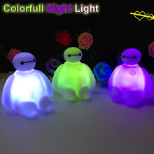 7 Color change Big Hero 6 PVC Baymax Cartoon LED Decoration Action Figure Lamp For Holiday Celebrate Christmas Gift Night Light
