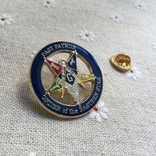 10pcs Featuring Square and Compasses Logo and Log Badge Brooch Freemason Order of the Eastern Star OES Past Patron Lapel Pin(China)