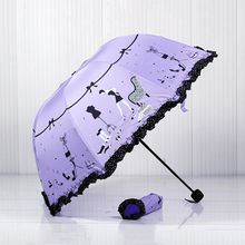High heels Brand Princess brand new arched creative folding umbrella sun umbrella lace parasol umbrella rain women guarda chuva