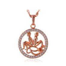 Trendy 12 Constellation Gemini Design Zirconia Necklaces & Pendants  Gold color Party Fashion Jewelry for Ladies LN597A