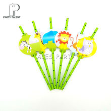Party supplies 12pcs Jungle Animals Safari Zoo theme straws party decoration biodegradable paper straw tube eco friendly(China)