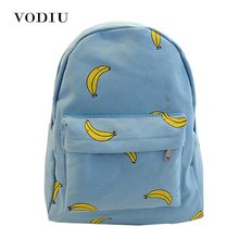 Cute Girl Banana Pattern Printing Women Backpacks Traveling Blue Candy Color School Bags Unique Fashion Canvas Backpack Female(China)