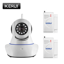 720P Wireless WIFI IOS Android Control HD Pan/Tilt Networok IP Camera With Phone Operate Work With two door sensors alarm system