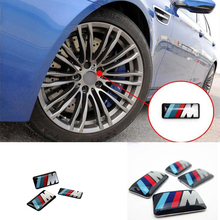 3 pc/lot Cool Car Auto Decoration Badge Stickers M Logo Metal 3D Car Sticker For Steering Wheel Gear for BMW M3 M5 X1 X3 X5 X6(China)