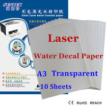(10pcs/lot) Laser Water Slide Decal Transfer Paper A3 Size Transparent Printing Paper No Shipping of Sticker(China)