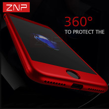 ZNP Luxury 360 Degree Case For iPhone 8 8 Plus Case With Tempered Glass Red Full Cover For iPhone 7 6 6S Plus 7 Phone Case Capa