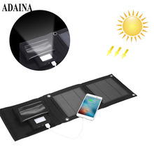 ADAINA Foldable Purse 5000mah Mobile Supply Solar Power Bank Universal Portable Solar Battery Mobile Phone Charging LED Light(China)