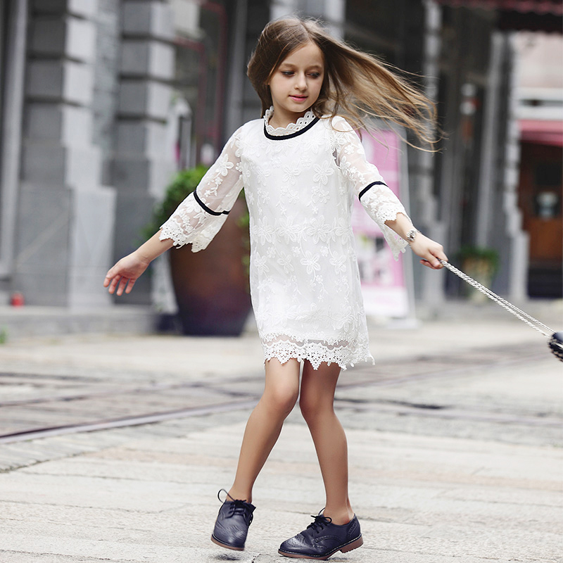 2017 new arrival summer early autumn girls lace dress kids white dress children clothes fashion baby, 3-14Y<br><br>Aliexpress