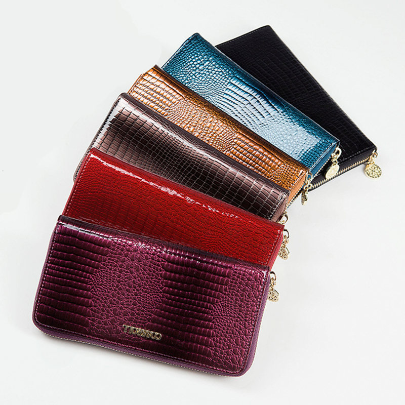 Women Purse patent Leather alligator Wallets  Card Holder High Quality Leather Purse for Smartphone Female Clutch zipper Wallet <br><br>Aliexpress
