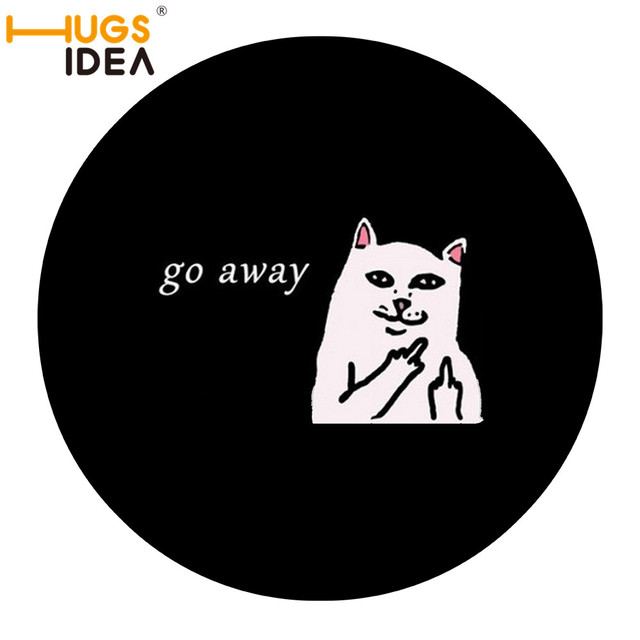 HUGSIDEA Thin Bathroom Cat Go Away Round Mats For Cats Funny Doormat For  Bath Anti