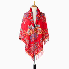 Autumn Winter Warm Shawl Scarves Pashmina Cashmere Thick Oversize Square Scarf Shawl Red Fashion Blanket With Fringe(China)