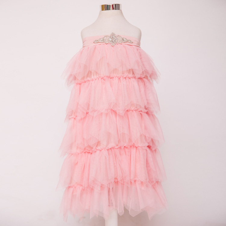toddler kids girl layered cake tulle tutu dresses crystal summer 2016 princess dress children wedding party  wholesale