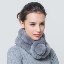 Womens winter fashion real rex rabbit fur scarves for women natrual fur ring scarf lady outerwear warm scarf(China)