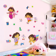 30x90cm Dora the Cartoon Explorer Boots Monkey Wall sticker Decals Girls Kids Bedroom Living Room Home Decor