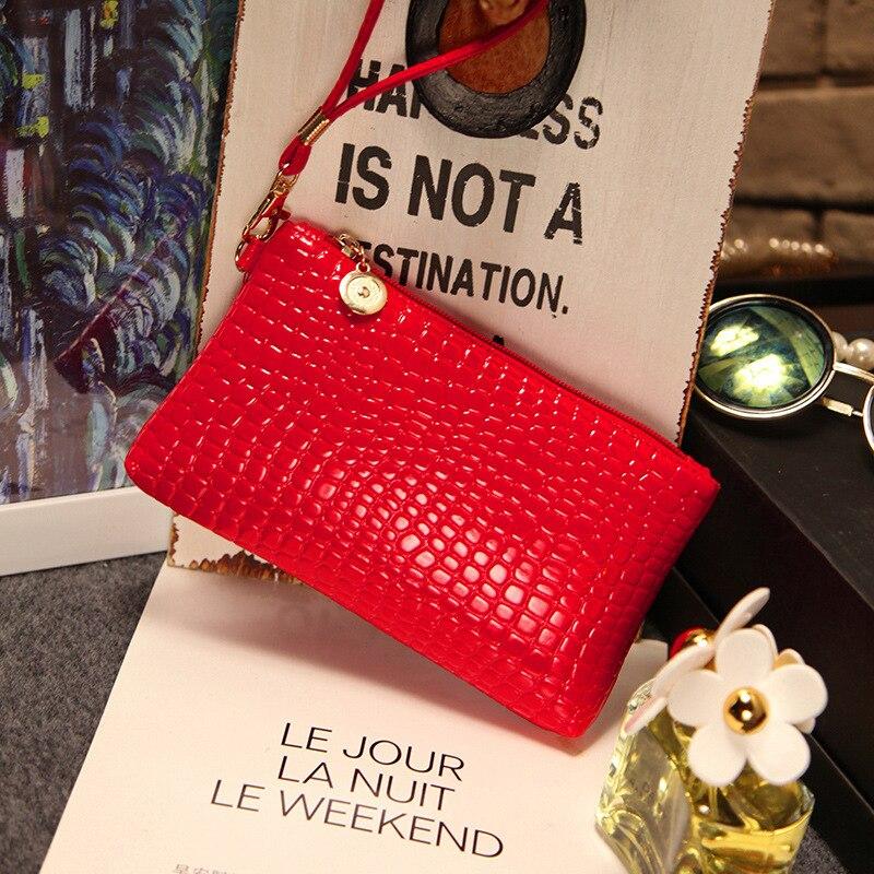 Red PU leather Long womens wallets and purses zipper, lady Stone grain Leather Clutch Purse,European style women handbag<br><br>Aliexpress