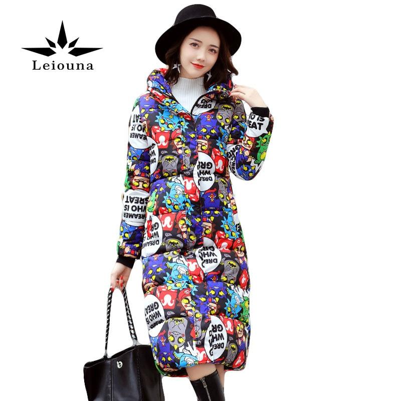 Leiouna Fashion Long Winter Jacket Print Women Down Cotton Letter Coat Female Thickening Warm Parka Hooded Large Sizes 4xlÎäåæäà è àêñåññóàðû<br><br>