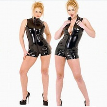 Buy Plus Size Sexy Black PVC Latex Sleeveless Bodysuit Women Faux Leather Catsuit Wetlook Bodycon Punk Fetish Club Jumpsuit Costume
