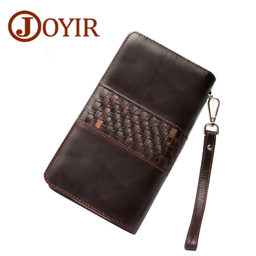 JOYIR Genuine Leather Men Wallets Zipper Design Business Male Wallet Fashion Purse Card Holder Long Clutch Wallets Men Gift 9326<br>