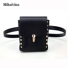Fashion Pu Leather Waist Packs Bum Bag Women Rivet Money Pouch Travel Waist Bags Lady Bar Nightclub Waist