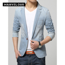 Manvelous Denim Blazer Men Fashion Casual Slim Fit Blazer Jackets Long Sleeve Single Pocket Denim Blue Plain Mens Blazer Suits