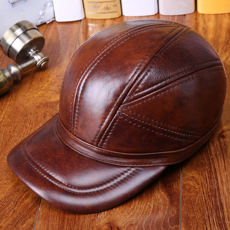 Old Man Cowskin Winter Baseball Hats with Ear Muffs Genuine Leather Caps for Men 20170735<br>