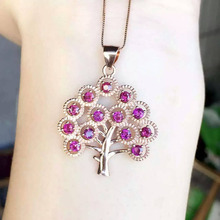 natural red garnet stone pendant S925 silver Natural gemstone Pendant Necklace trendy Christmas tree women girl gift jewelry