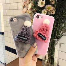 For iPhone 6 6S 7 Plus Phone Case Haobuy Christmas Gift Warm Winter Hand Made Fur Hat Hairy PC Plastic Hard Phone Coque Cover