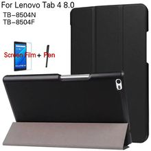 "Magnetic Stand Smart PU Leather Cover Lenovo Tab 4 8 TB-8504F/8504N 8.0"" Tablet Funda Case+Free Screen Protector+Stylus Pen"