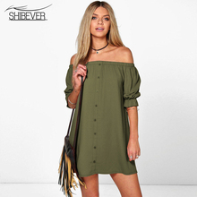 SHIBEVER Woman Beach Dress Party Girls Short Dress T Shirt Bohemian Casual Body Off Shoulder Ladies Summer Sexy Dresses ALD92(China)