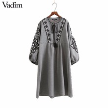 Women vintage flower embroidery long dress lantern sleeve bow tie o neck pleated vestidos casual brand retro dresses QZ2860(China)