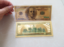 24k Gold Banknote Fake Money Double-sided Foil 100 Dollar Bills Paper Money Collection Vintage Halloween Decoration