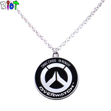 Overwatch GOLO OW alloy Pendant Necklaces Tracer Reaper High quality Link Chain choker necklace keyChain Key Holder Jewelry gift