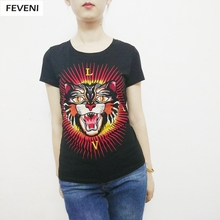 Embroidery Tiger T Shirt Women 2017 Summer Top Lady Short Sleeve T Shirts  Write LOVE Letters Tee O Neck Y03255